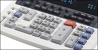 Close up view of calculator keys